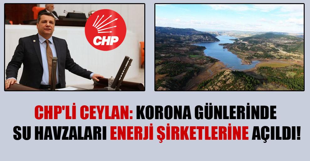 CHP'li Ceylan: Korona günlerinde su havzaları enerji şirketlerine açıldı!