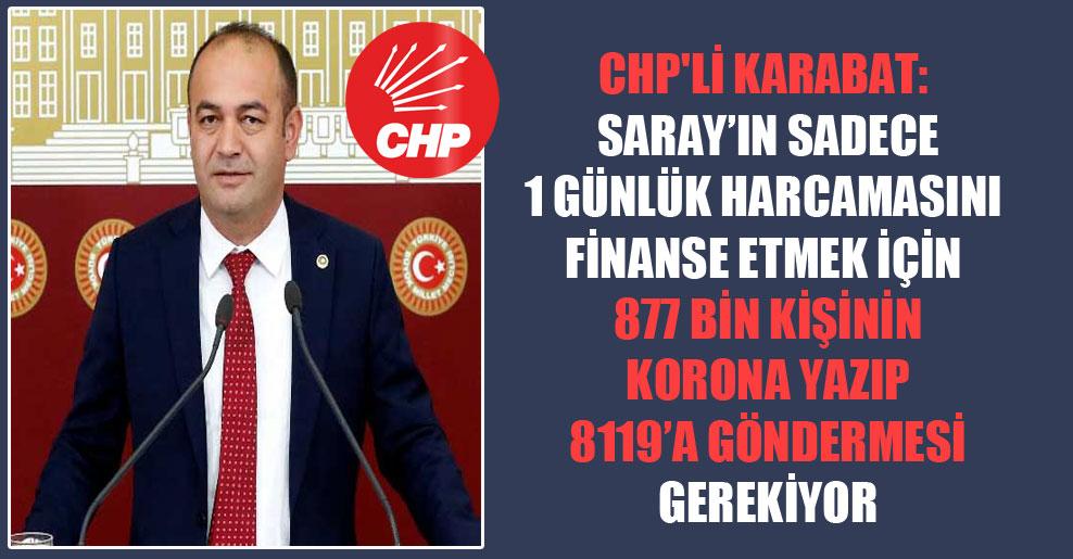 CHP'li Karabat: Saray'ın sadece 1 günlük harcamasını finanse etmek için 877 bin kişinin Korona yazıp 8119'a göndermesi gerekiyor