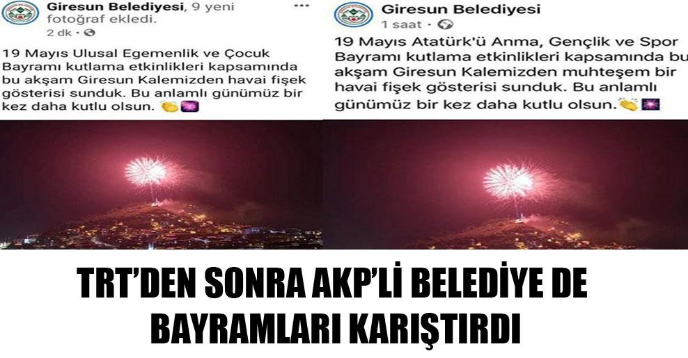 TRT'den sonra AKP'li Belediye de bayramları karıştırdı