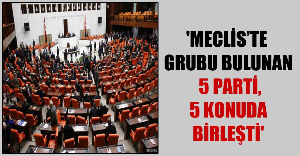 'Meclis'te grubu bulunan 5 parti, 5 konuda birleşti'