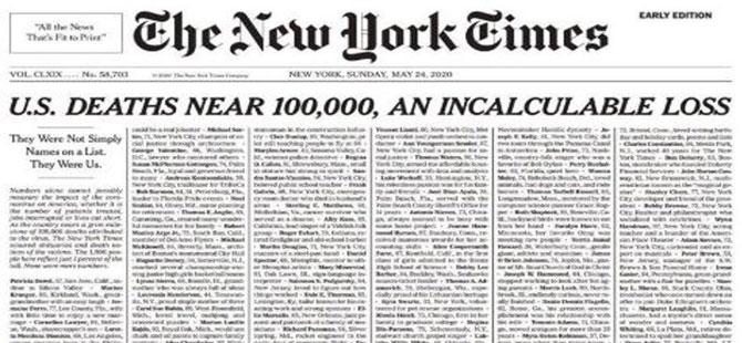 New York Times'tan çarpıcı korona birinci sayfası