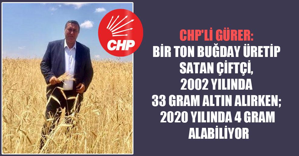 CHP'li Gürer: Bir ton buğday üretip satan çiftçi, 2002 yılında 33 gram altın alırken; 2020 yılında 4 gram alabiliyor