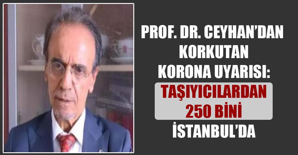 Prof. Dr. Ceyhan'dan korkutan korona uyarısı: Taşıyıcılardan 250 bini İstanbul'da
