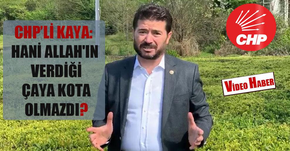 CHP'li Kaya: Hani Allah'ın verdiği çaya kota olmazdı?