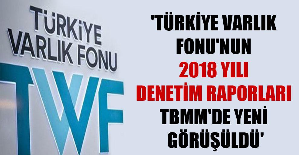 'Türkiye Varlık Fonu'nun 2018 yılı denetim raporları TBMM'de yeni görüşüldü'