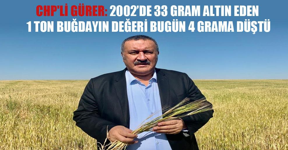 CHP'li Gürer: 2002'de 33 gram altın eden 1 ton buğdayın değeri bugün 4 grama düştü