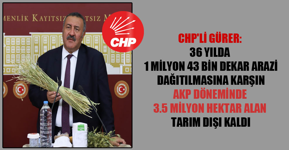 CHP'li Gürer: 36 yılda 1 milyon 43 bin dekar arazi dağıtılmasına karşın AKP döneminde 3.5 milyon hektar alan tarım dışı kaldı