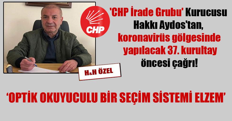'CHP İrade Grubu' Kurucusu Hakkı Aydos'tan, koronavirüss gölgesinde yapılacak 37. kurultay öncesi çağrı!
