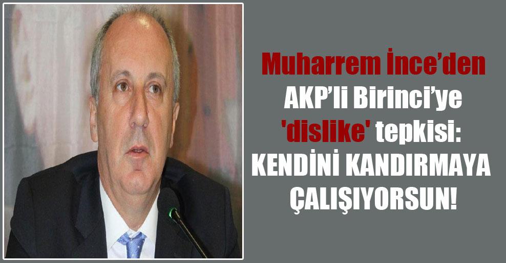 Muharrem İnce'den AKP'li Birinci'ye 'dislike' tepkisi: Kendini kandırmaya çalışıyorsun!