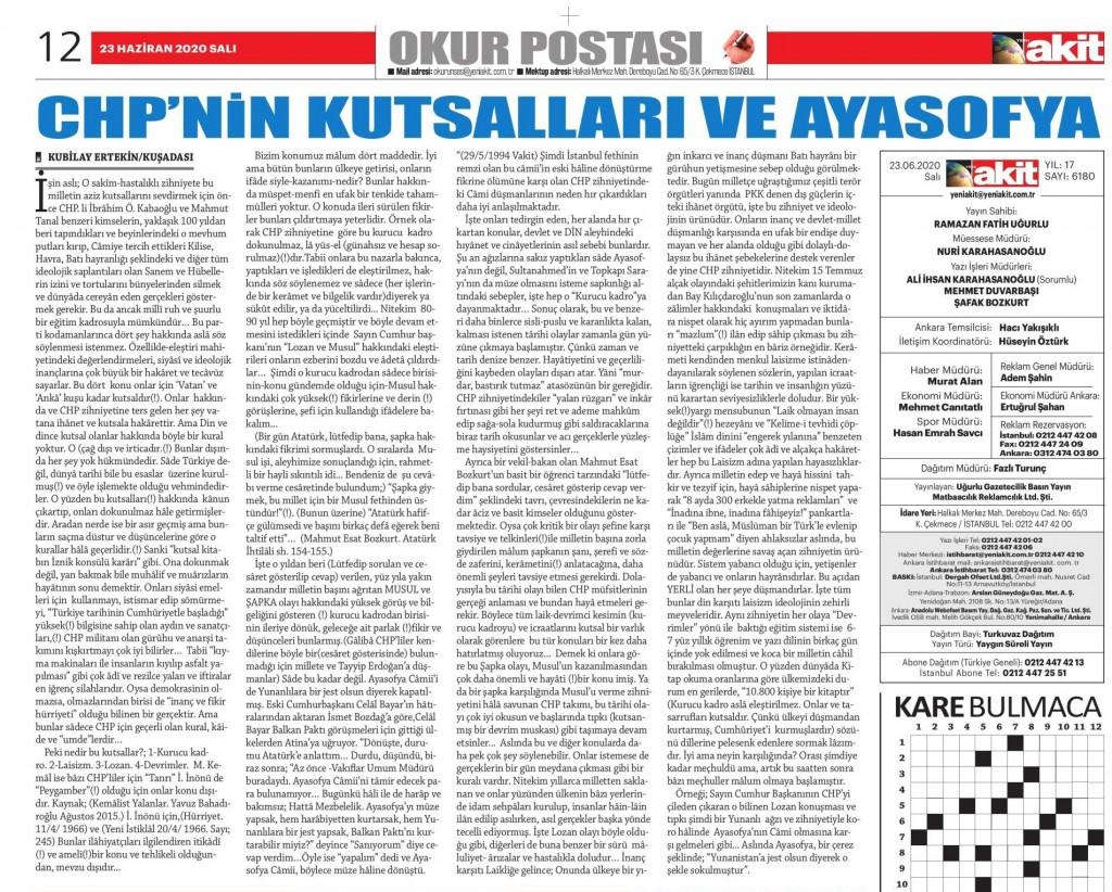 Akit gazetesi okur yazısı sayfa görüntüsü