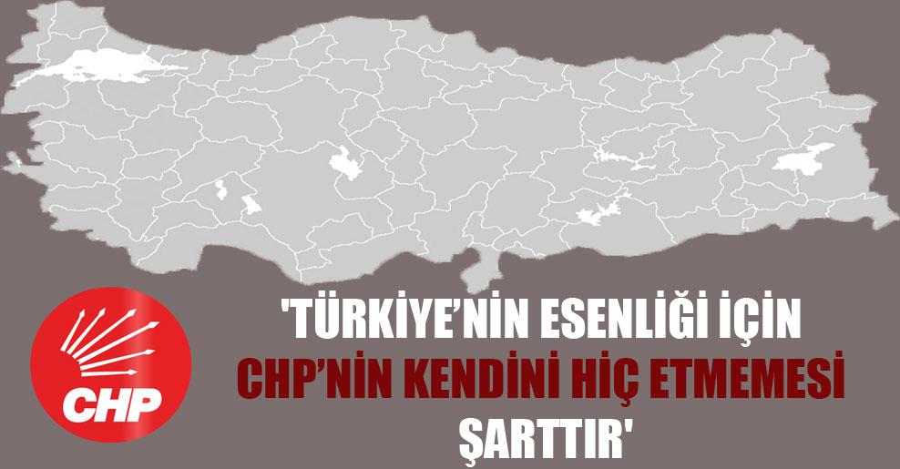'Türkiye'nin esenliği için CHP'nin kendini hiç etmemesi şarttır'