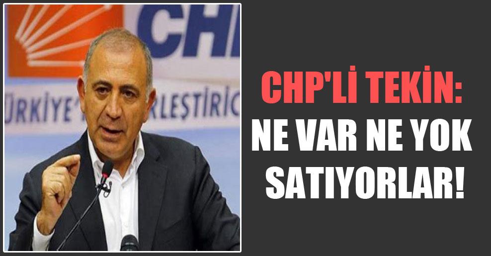 CHP'li Tekin: Ne var ne yok satıyorlar!