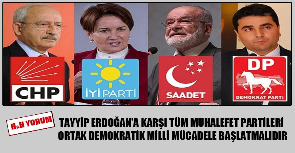 Tayyip Erdoğan'a karşı tüm muhalefet partileri ortak demokratik milli mücadele başlatmalıdır