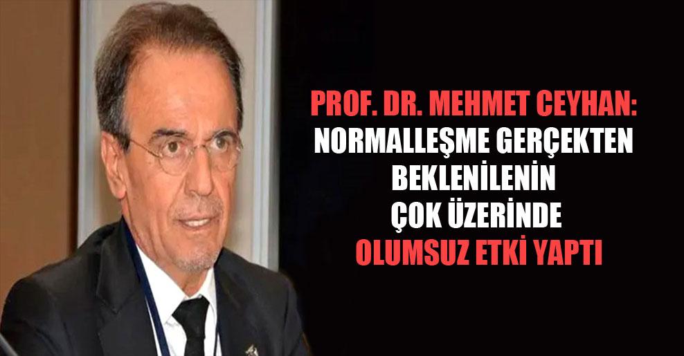 Prof. Dr. Mehmet Ceyhan: Normalleşme gerçekten beklenilenin çok üzerinde olumsuz etki yaptı