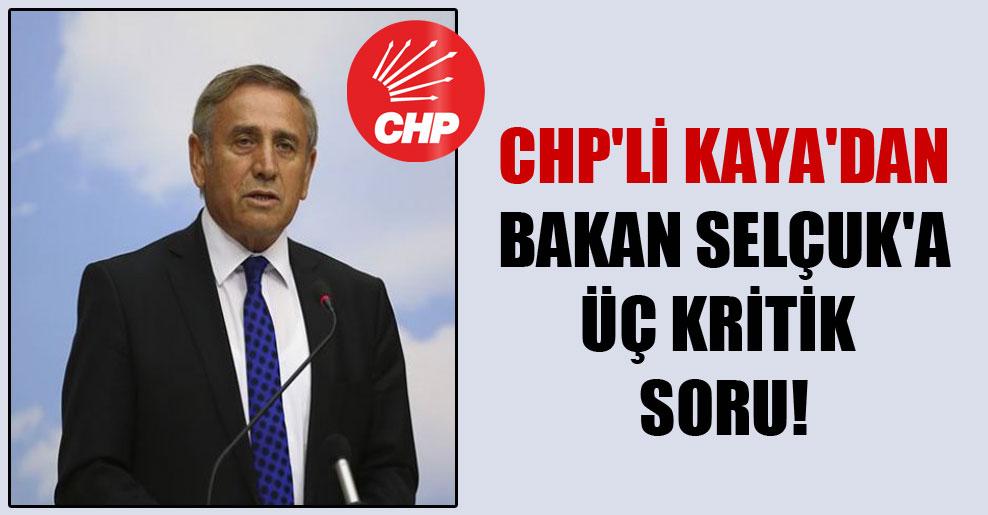 CHP'li Kaya'dan Bakan Selçuk'a üç kritik soru!