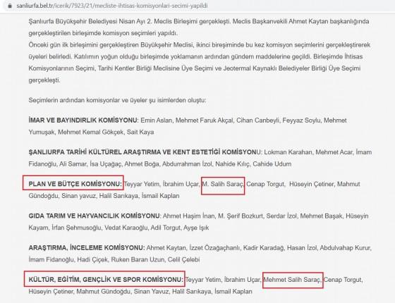 Şanlıurfa Belediyesi komisyon seçimi