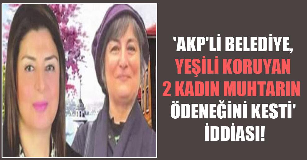 'AKP'li belediye, yeşili koruyan 2 kadın muhtarın ödeneğini kesti' iddiası!