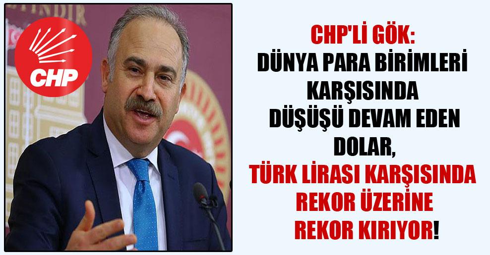 CHP'li Gök: Dünya para birimleri karşısında düşüşü devam eden Dolar, Türk Lirası karşısında rekor üzerine rekor kırıyor!