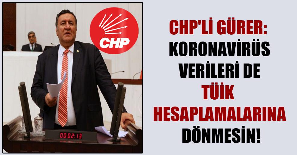 CHP'li Gürer: Koronavirüs verileri de TÜİK hesaplamalarına dönmesin!
