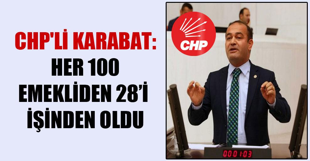CHP'li Karabat: Her 100 emekliden 28'i işinden oldu
