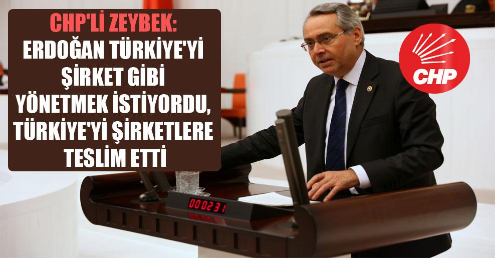 CHP'li Zeybek: Erdoğan Türkiye'yi şirket gibi yönetmek istiyordu, Türkiye'yi şirketlere teslim etti