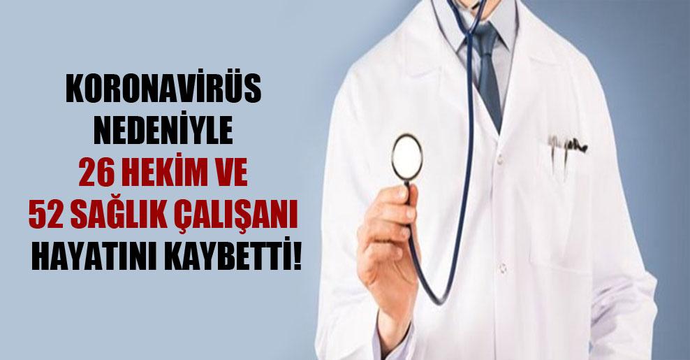 Koronavirüs nedeniyle 26 hekim ve 52 sağlık çalışanı hayatını kaybetti!