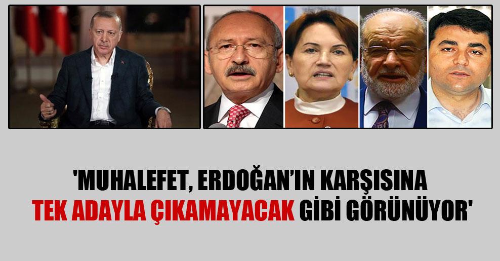 'Muhalefet, Erdoğan'ın karşısına tek adayla çıkamayacak gibi görünüyor'