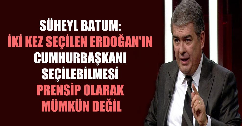 Süheyl Batum: İki kez seçilen Erdoğan'ın cumhurbaşkanı seçilebilmesi prensip olarak mümkün değil