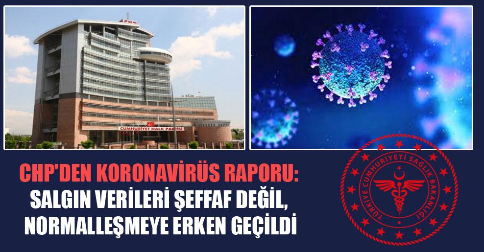 CHP'den Koronavirüs raporu: Salgın verileri şeffaf değil, normalleşmeye erken geçildi
