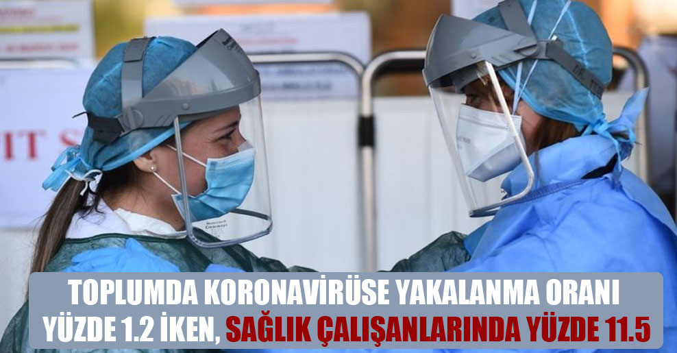 Toplumda koronavirüse yakalanma oranı yüzde 1.2 iken, sağlık çalışanlarında yüzde 11.5