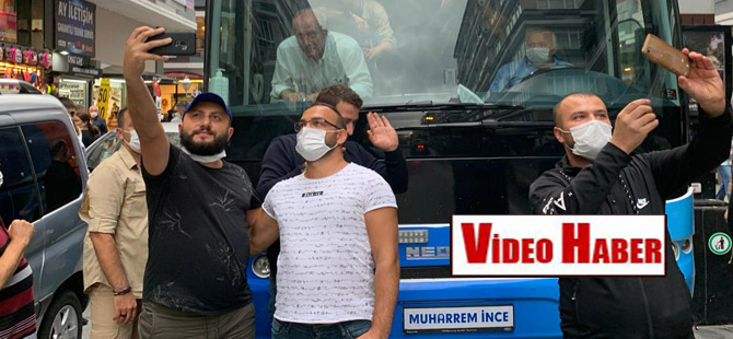 Samsun'da İnce'nin otobüsünün önüne geçip fotoğraf çektiler!