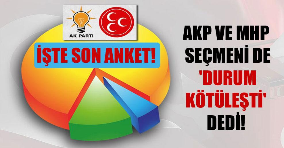 AKP ve MHP seçmeni 'durum kötüleşti' dedi! İşte son anket!