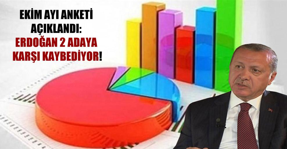 Ekim ayı anketi açıklandı: Erdoğan 2 adaya karşı kaybediyor