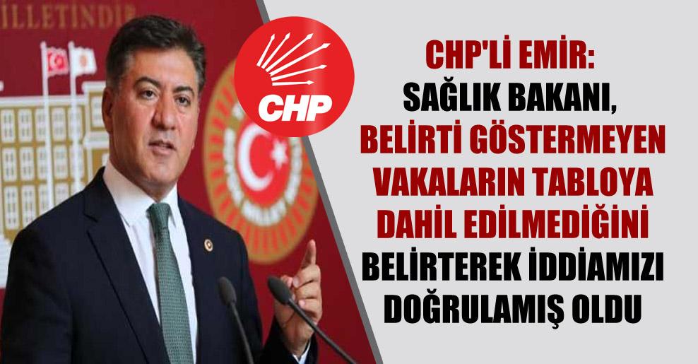 CHP'li Emir: Sağlık Bakanı, belirti göstermeyen vakaların tabloya dahil edilmediğini belirterek iddiamızı doğrulamış oldu