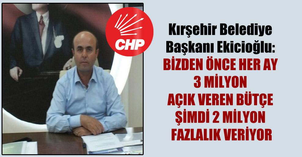 Kırşehir Belediye Başkanı Ekicioğlu: Bizden önce her ay 3 milyon açık veren bütçe şimdi 2 milyon fazlalık veriyor