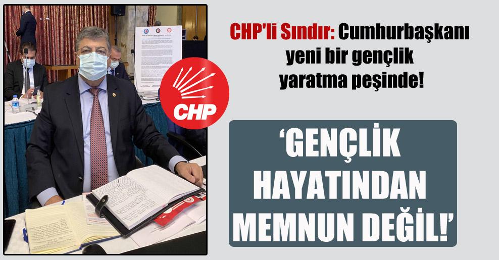 CHP'li Sındır: Cumhurbaşkanı yeni bir gençlik yaratma peşinde!