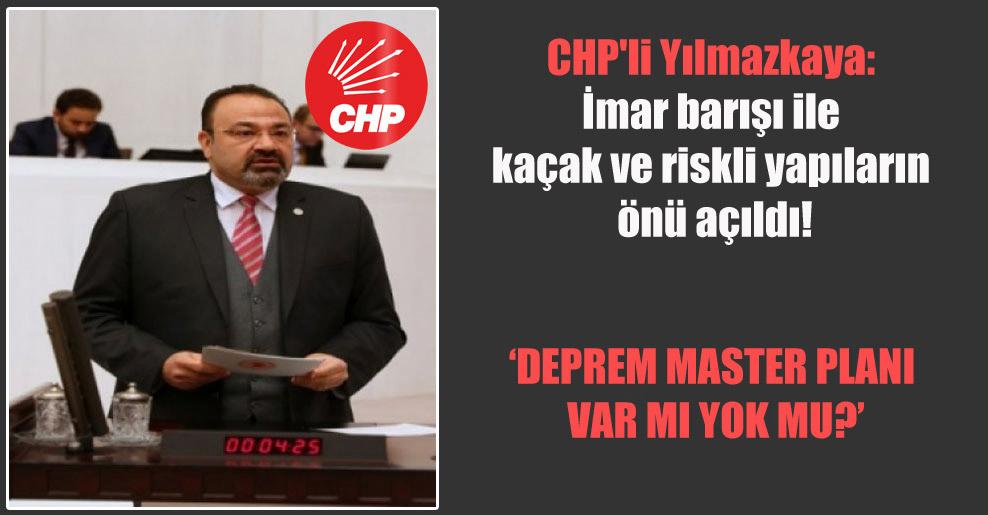 CHP'li Yılmazkaya: İmar barışı ile kaçak ve riskli yapıların önü açıldı!