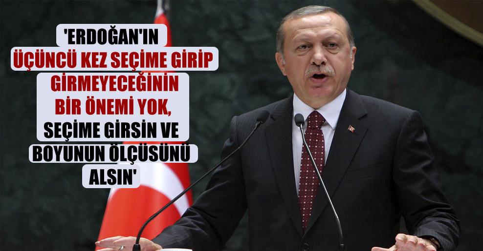 'Erdoğan'ın üçüncü kez seçime girip girmeyeceğinin bir önemi yok, seçime girsin ve boyunun ölçüsünü alsın'