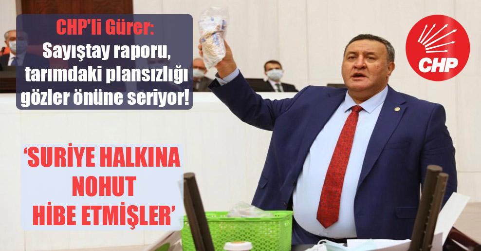 CHP'li Gürer: Sayıştay raporu, tarımdaki plansızlığı gözler önüne seriyor!