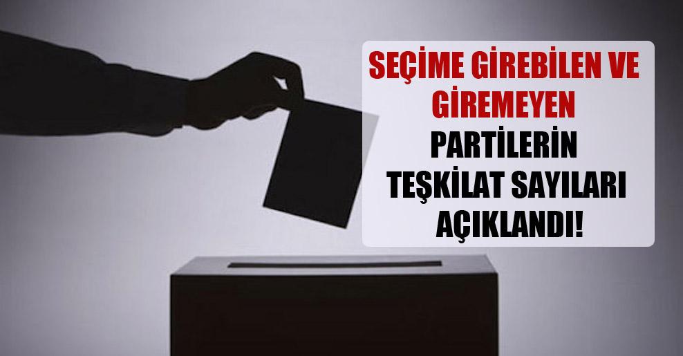 Seçime girebilen ve giremeyen partilerin teşkilat sayıları açıklandı!