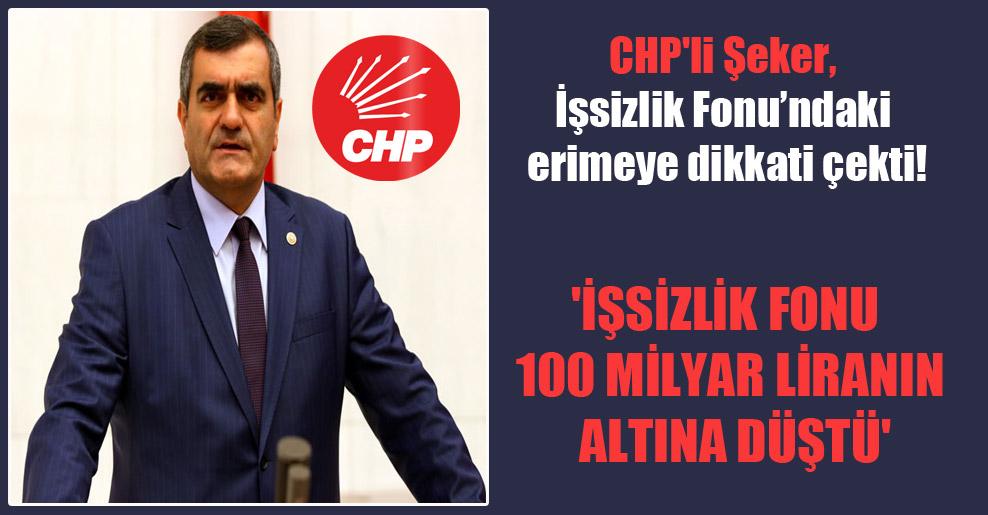 CHP'li Şeker, İşsizlik Fonu'ndaki erimeye dikkati çekti! 'İşsizlik Fonu 100 milyar Liranın altına düştü'
