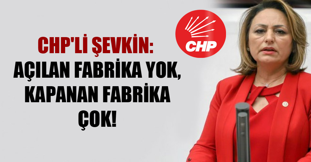 CHP'li Şevkin: Açılan fabrika yok, kapanan fabrika çok!