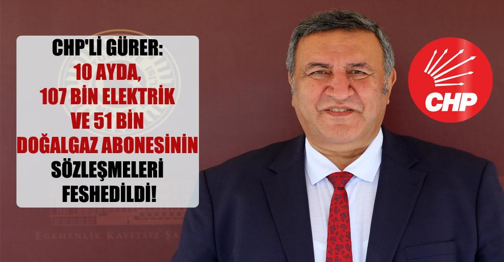CHP'li Gürer: 10 ayda, 107 bin elektrik ve 51 bin doğalgaz abonesinin sözleşmeleri feshedildi!