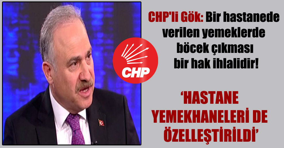 CHP'li Gök: Bir hastanede verilen yemeklerde böcek çıkması bir hak ihlalidir!