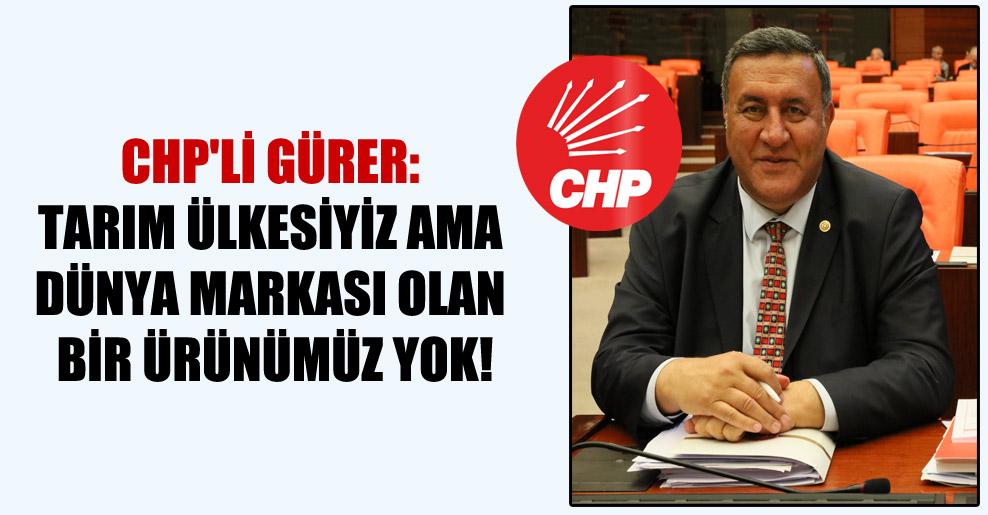 CHP'li Gürer: Tarım ülkesiyiz ama dünya markası olan bir ürünümüz yok!