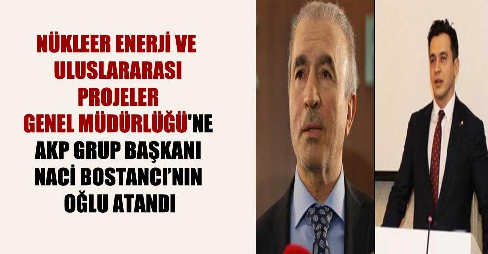 Nükleer Enerji ve Uluslararası Projeler Genel Müdürlüğü'ne AKP Grup Başkanı Naci Bostancı'nın oğlu atandı