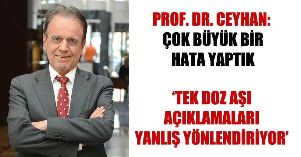 Prof. Dr. Ceyhan: Çok büyük bir hata yaptık