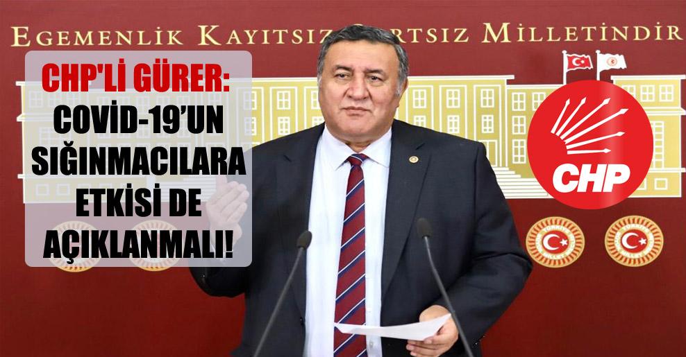 CHP'li Gürer: Covid-19'un sığınmacılara etkisi de açıklanmalı!