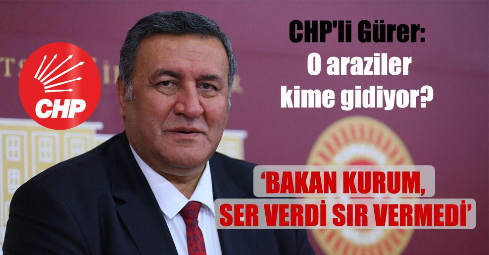 CHP'li Gürer: O araziler kime gidiyor?