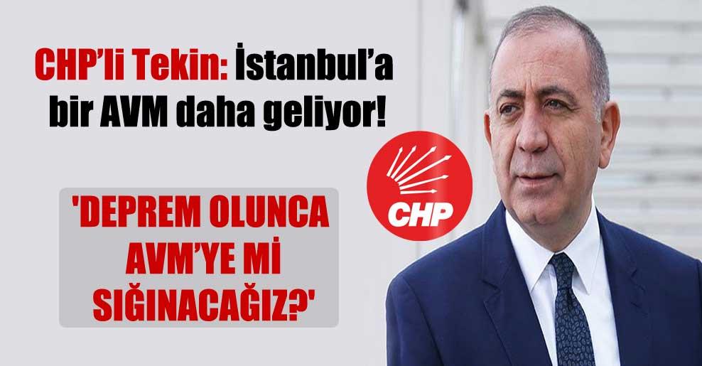 CHP'li Tekin: İstanbul'a bir AVM daha geliyor! 'Deprem olunca AVM'ye mi sığınacağız?'